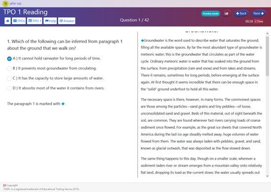 نمونه کار طراحی و برنامه نویسی وب - طراحی شبیه ساز آزمون انگلیسی تافل TOEFL